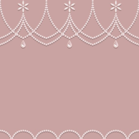 ball and chain: Seamless pearl ornament on a pink background. Vector illustration