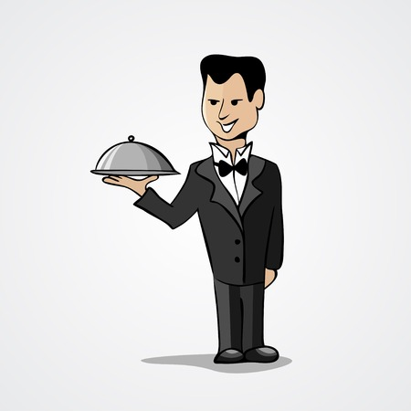 Waiter with a tray isolated on white background. Vector illustration Vector