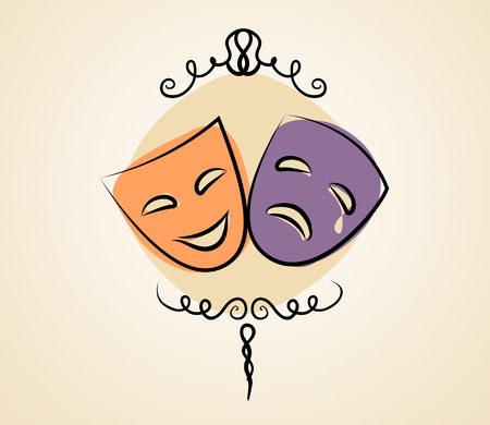 Comedy and tragedy theater masks Çizim