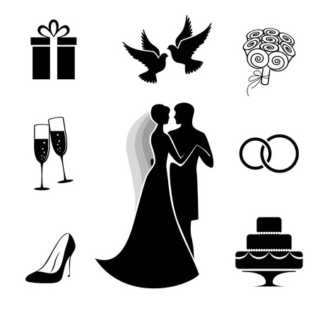 champagne celebration: Wedding icon collection isolated on white Illustration
