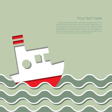 Cruise schip in de oceaan Stock Illustratie