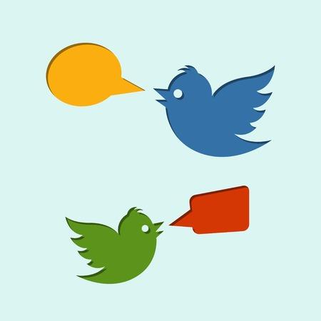 tweet balloon: Flying birds with speech bubbles