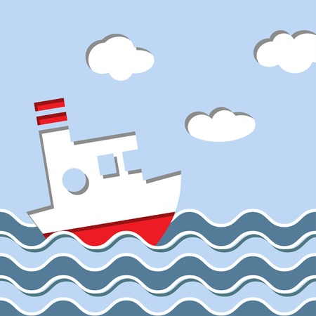 papercraft: Cruise ship in the ocean Illustration