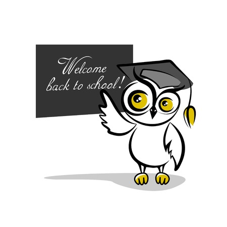 Owl and a blackboard isolated on white background Vector