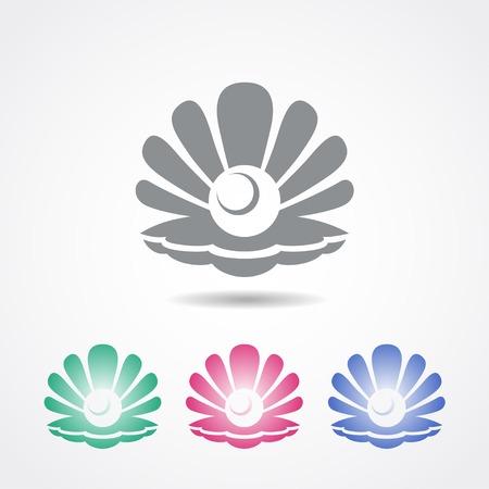 noix saint jacques: Vector coque icône avec une perle en différentes couleurs