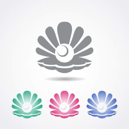 conchas: Vector icono de shell con una perla en diferentes colores