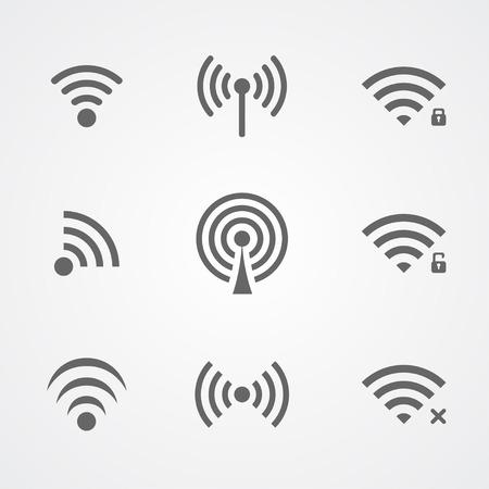 Ícones de frequência sem fios pretos isolados no fundo branco Ilustração