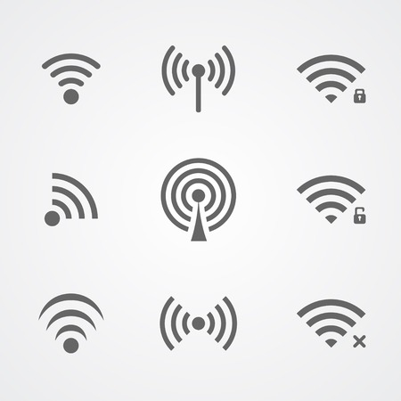 wireless internet: Black wireless frequency icons isolated on white background