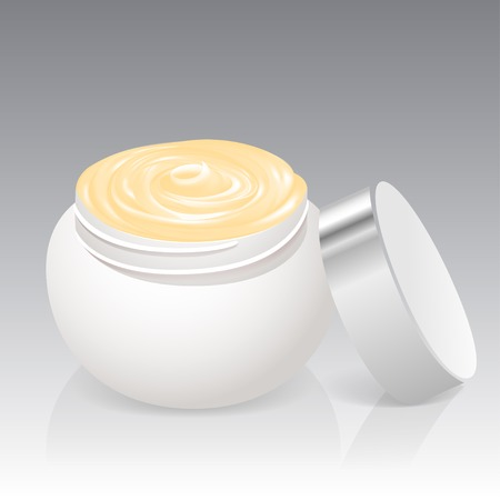 ointment: Facial cream jar isolated on a white background