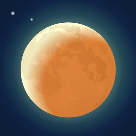 Full Moon Eclipse on a Dark Blue Sky Vector