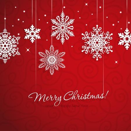 Flocons de neige blancs sur fond rouge Banque d'images - 32610516