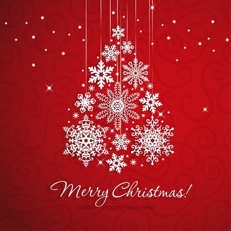 赤の背景に白い雪の結晶のクリスマス ツリー