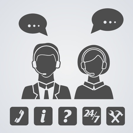 callcenter: Call center icons set