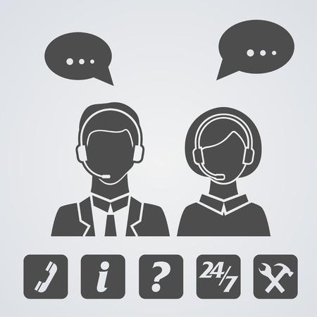call center icon: Call center icons set