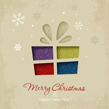 Christmas gift on a snowy background Vector