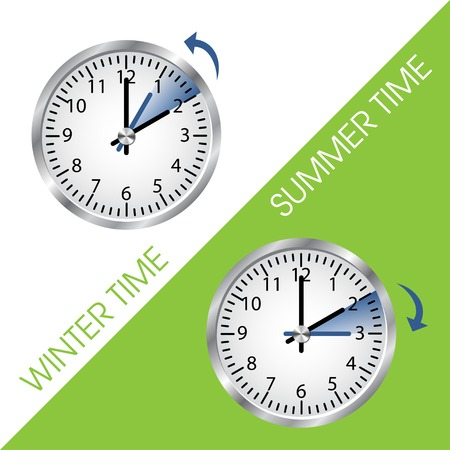 time zone: Clock showing summer and winter time Illustration