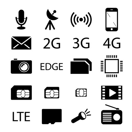 smart card: Mobile phone specification icon collection
