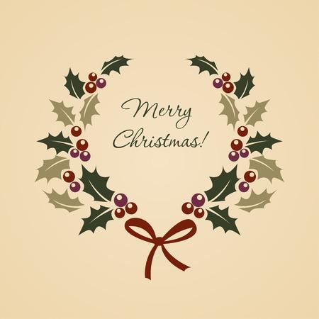 ビンテージ スタイルのクリスマス モチノキ花輪  イラスト・ベクター素材