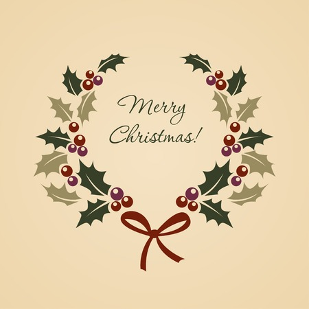 Kerstmis ilex krans in vintage stijl