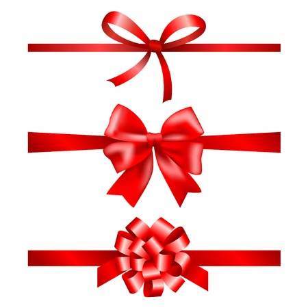 ribbons and bows: Red gift bows collection with ribbons
