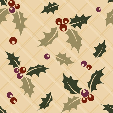ilex: Ilex sprig seamless Christmas background Illustration
