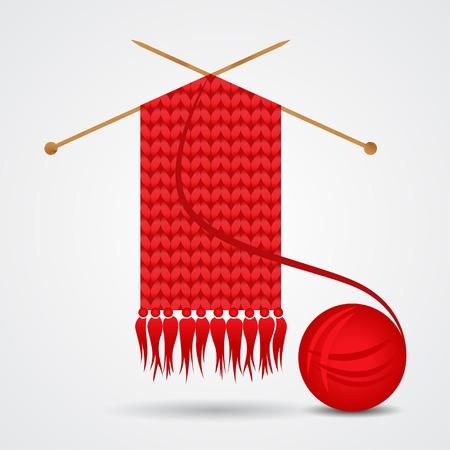 원사 공 니트 빨간색 스카프 일러스트