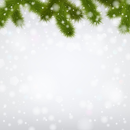 Christmas snowy background with fir branches.  Illustration