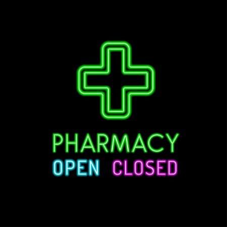 pharmacy sign: Pharmacy neon sign on black background