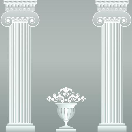 Classical greek or roman columns and vase Ilustração