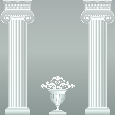 Classical greek or roman columns and vase Illustration