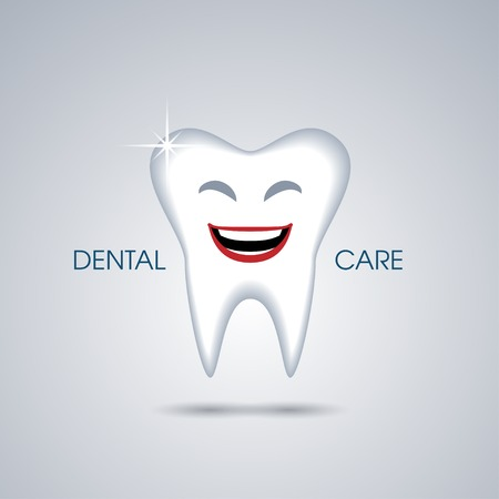 white smile: Smiling cartoon tooth isolated on green background Illustration