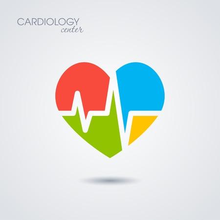 enfermedades del corazon: Símbolo de la cardiología aislado en fondo blanco
