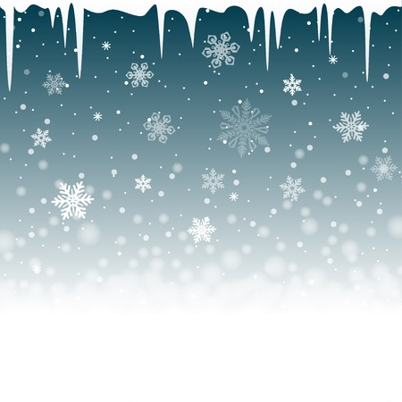 snow drifts: Christmas snowy background with icicles