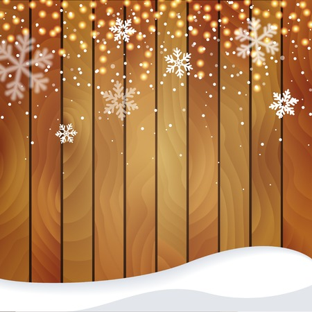 snowbank: Wooden Christmas background with a snowfall