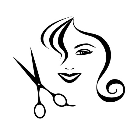 Woman and scissors design for hair salon