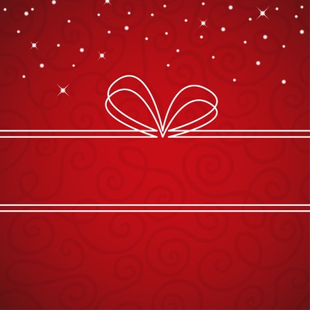 mo�o blanco: Marco lazo blanco sobre un fondo de textura rojo. Ilustraci�n vectorial