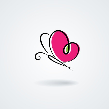 Hand-drawn butterfly with a heart\'s shape wings
