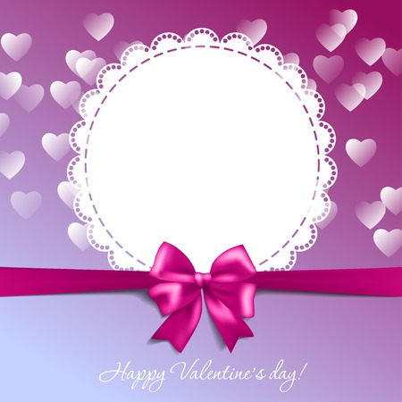 Valentines card with a bow and hearts Vector