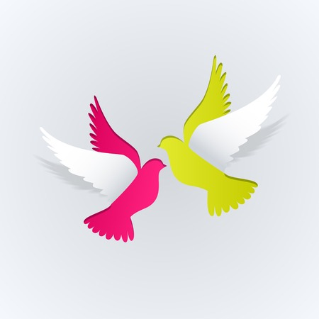 3d dove: Couple of paper doves on a white background