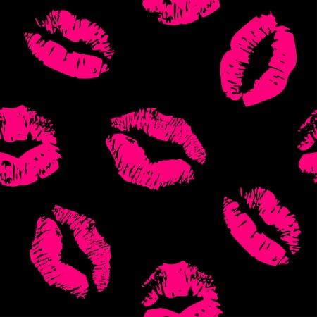 beso labios: Patrón sin fisuras con un beso del lápiz labial impresiones Vectores
