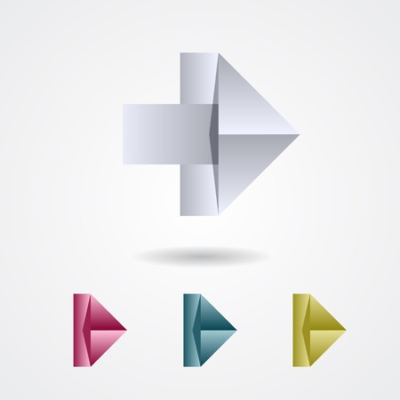 Origami arrow sign on a white background Vector