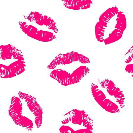 Seamless pattern with a lipstick kiss prints Çizim