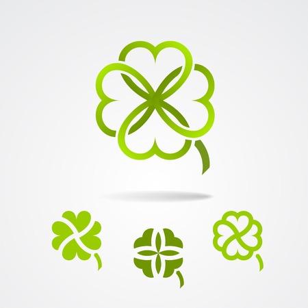 clover leaf shape: Clover - Saint Patrick trefoil symbol set
