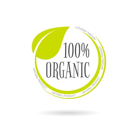 Organic product emblem on white background. Vector illustration