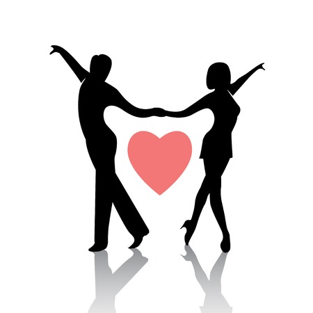 Dancing couple isolated on a white background Ilustrace