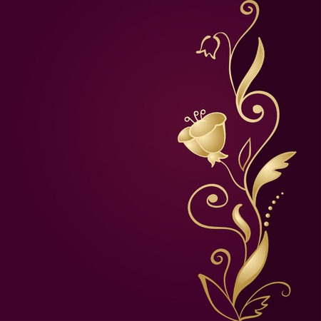 Golden floral ornament on green background