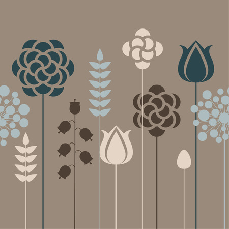blue tulip: Seamless floral pattern in vintage colors