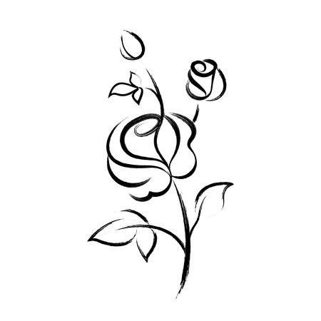 黒手描きバラの孤立した白い背景  イラスト・ベクター素材