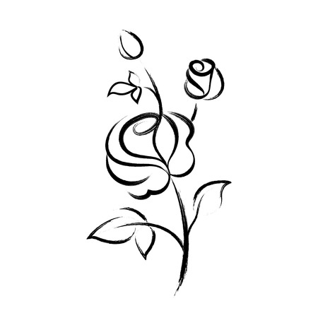 Black hand drawn rose isolated on white background