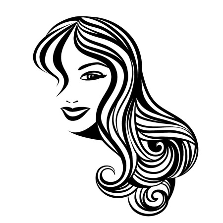 white hair: Lady with a long hair portrait Illustration
